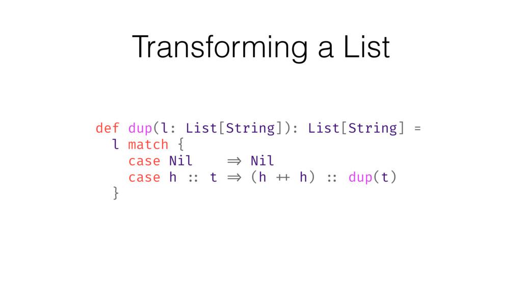 Transforming a List def dup(l: List[String]): L...