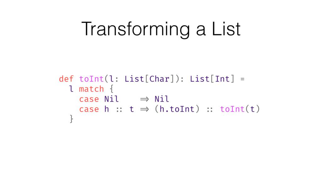 Transforming a List def toInt(l: List[Char]): L...