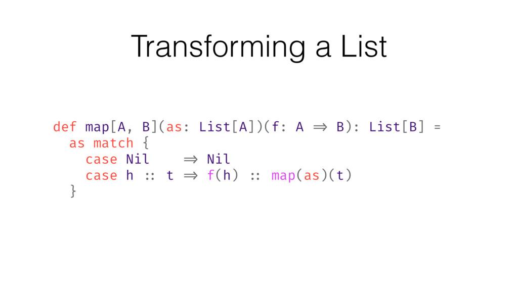 Transforming a List def map[A, B](as: List[A])(...