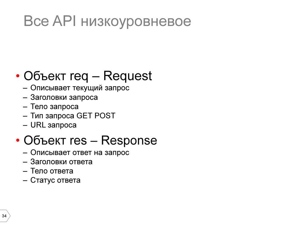 34 Все API низкоуровневое • Объект req – Reque...