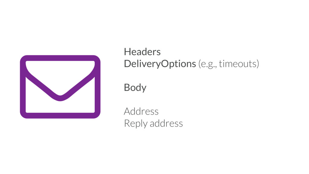 - Headers DeliveryOptions (e.g., timeouts) Body...