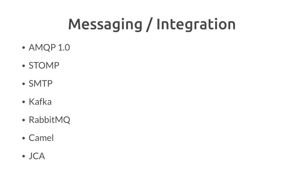 Messaging / Integration • AMQP 1.0 • STOMP • SM...