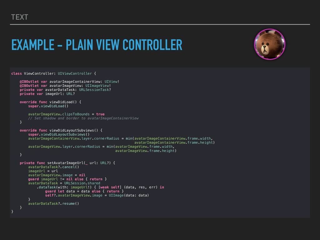 TEXT EXAMPLE - PLAIN VIEW CONTROLLER class View...