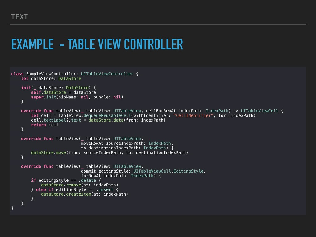 TEXT EXAMPLE - TABLE VIEW CONTROLLER class Samp...