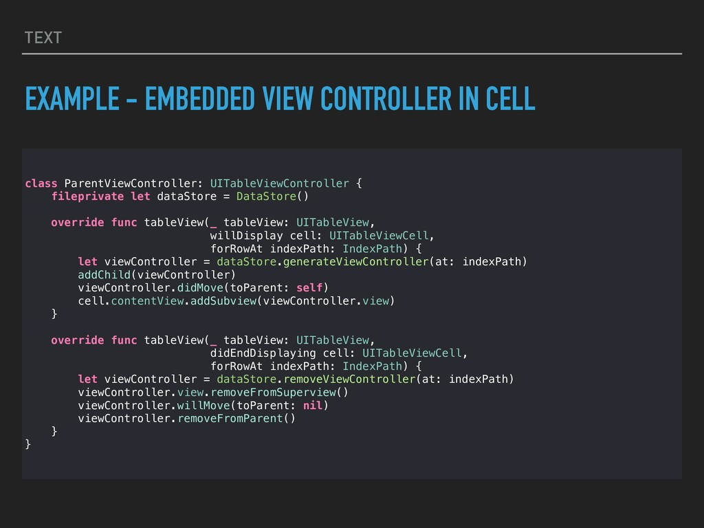 TEXT EXAMPLE - EMBEDDED VIEW CONTROLLER IN CELL...