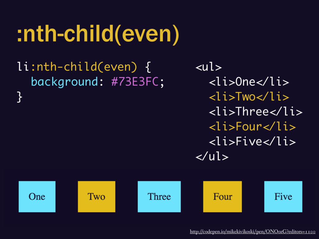 :nth-child(even) li:nth-child(even) { backgroun...