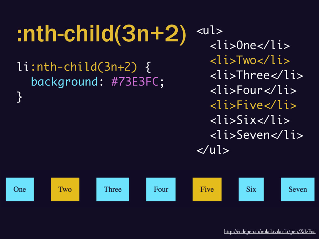 :nth-child(3n+2) li:nth-child(3n+2) { backgroun...