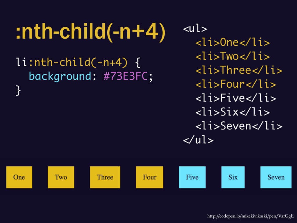:nth-child(-n+4) li:nth-child(-n+4) { backgroun...