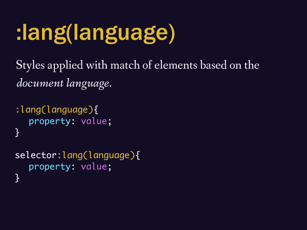 :lang(language) Styles applied with match of el...