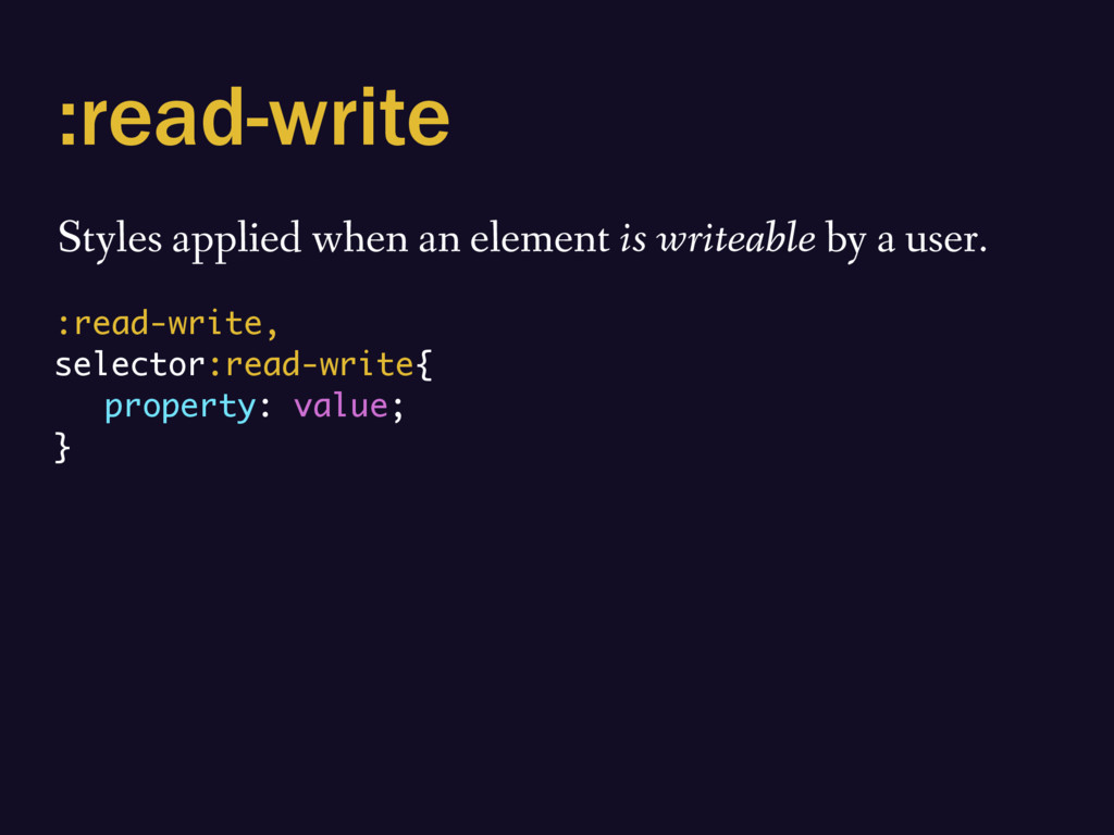 :read-write Styles applied when an element is w...