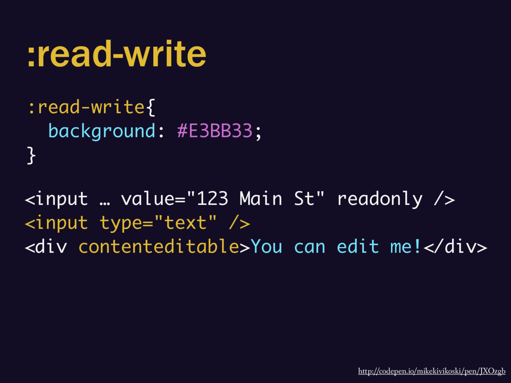 :read-write :read-write{ background: #E3BB33; }...