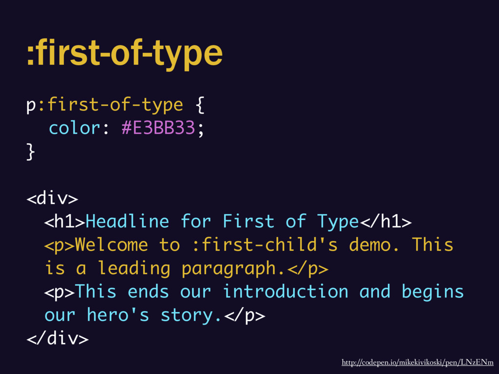 :first-of-type p:first-of-type { color: #E3BB33...