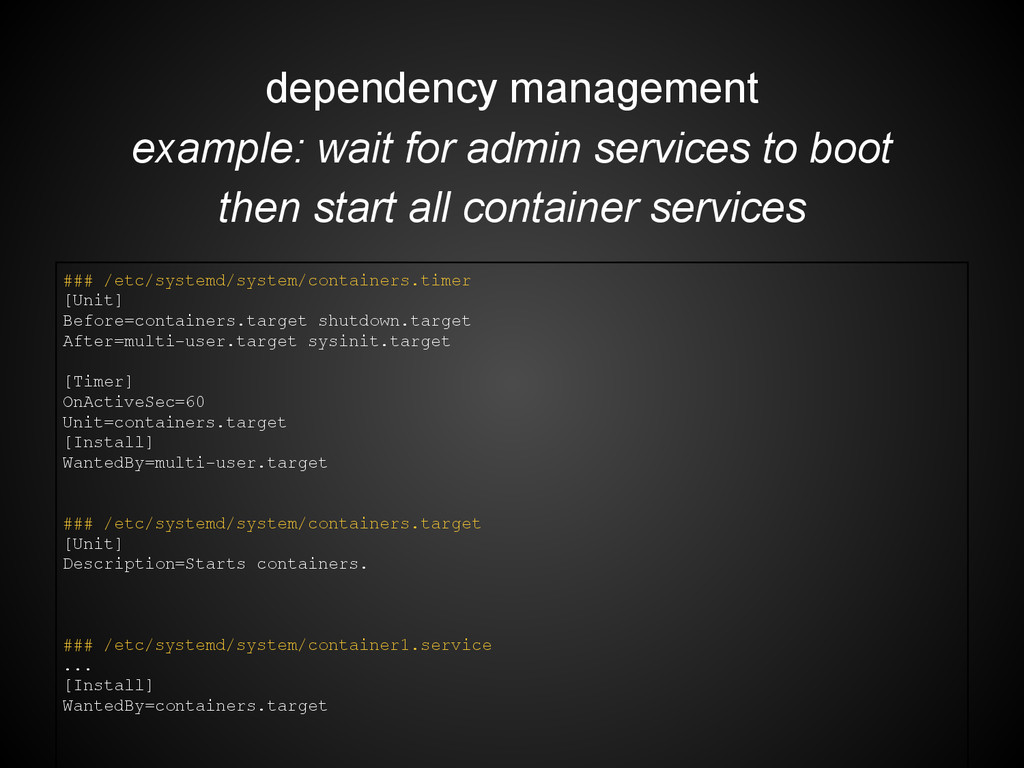 dependency management example: wait for admin s...