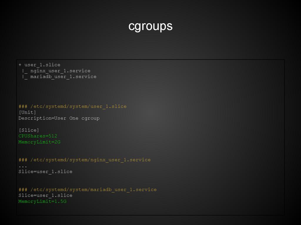cgroups + user_1.slice |_ nginx_user_1.service ...