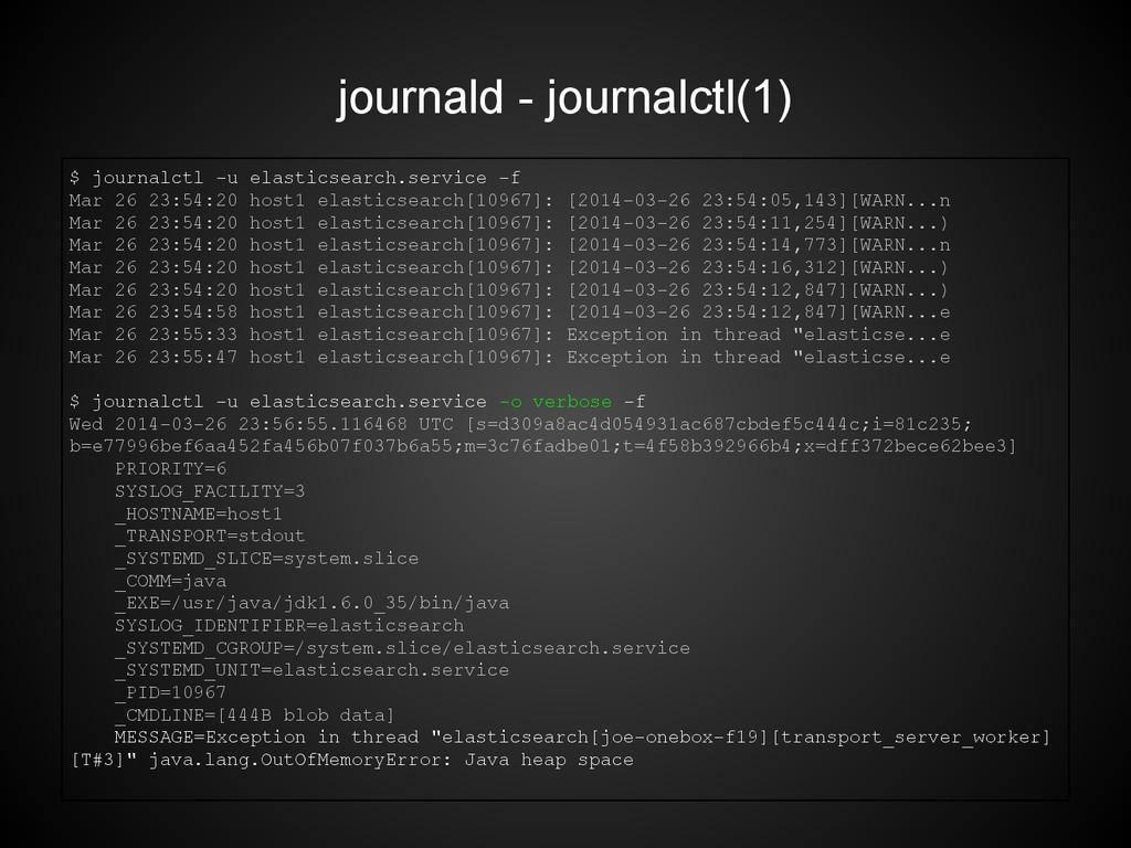 journald - journalctl(1) $ journalctl -u elasti...