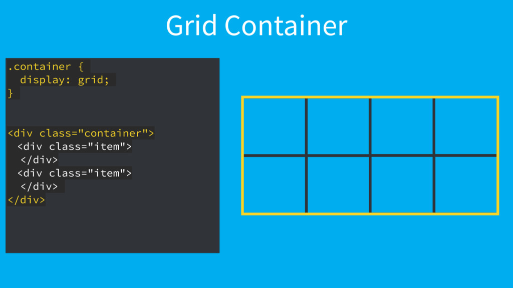 Grid Container .container { display: grid; } <d...
