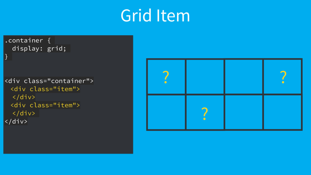 Grid Item .container { display: grid; } <div cl...