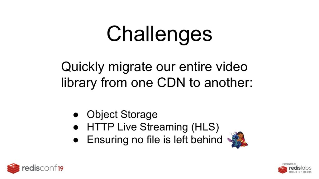 Challenges Quickly migrate our entire video lib...