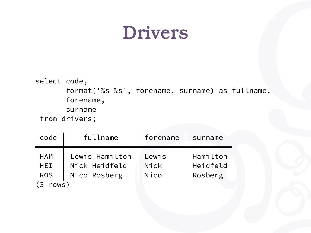 Drivers select code, format('%s %s', forename, ...
