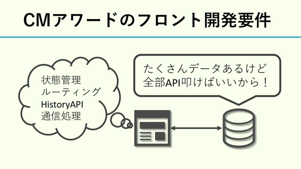 たくさんデータあるけど 全部API叩けばいいから! $.Ξϫʔυͷϑϩϯτ։ൃཁ݅ 状態管理 ...