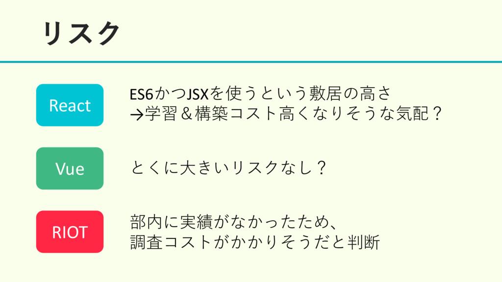 ϦεΫ ES6かつJSXを使うという敷居の⾼さ →学習&構築コスト⾼くなりそうな気配? とくに...
