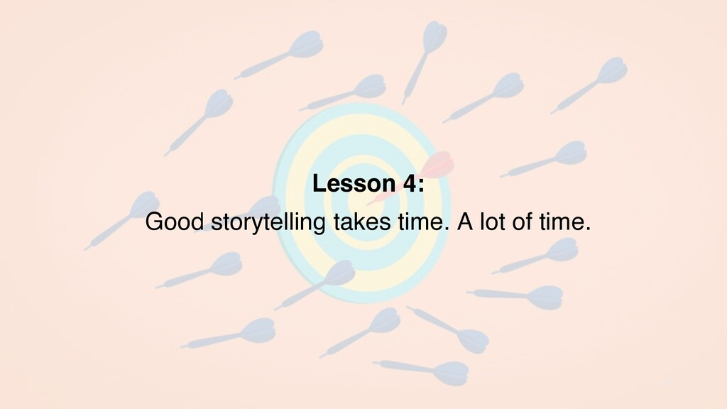 15 Lesson 4: Good storytelling takes time. A lo...