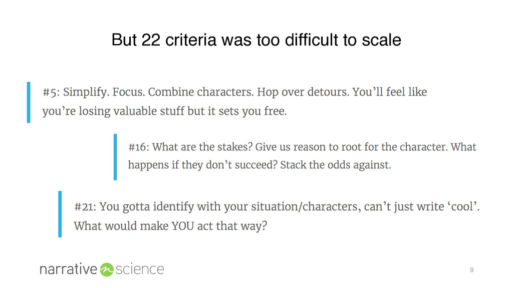 9 But 22 criteria was too difficult to scale