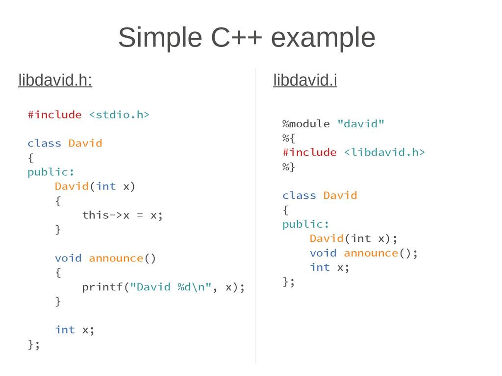 Simple C++ example #include <stdio.h> class Dav...
