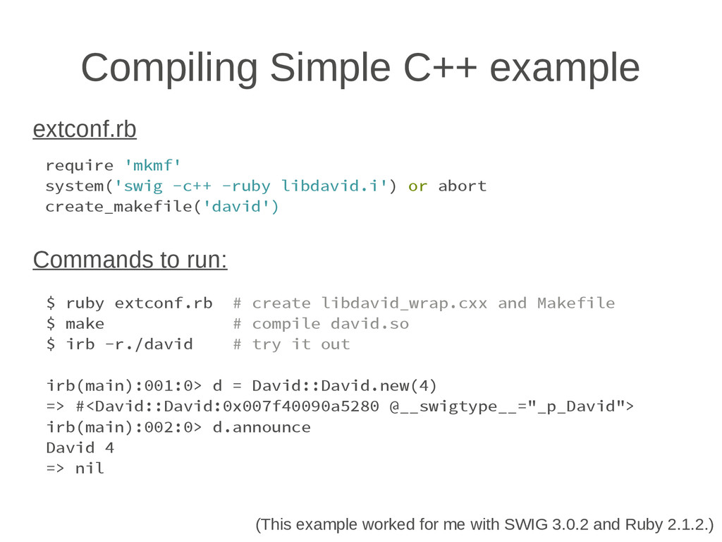 Compiling Simple C++ example require 'mkmf' sys...