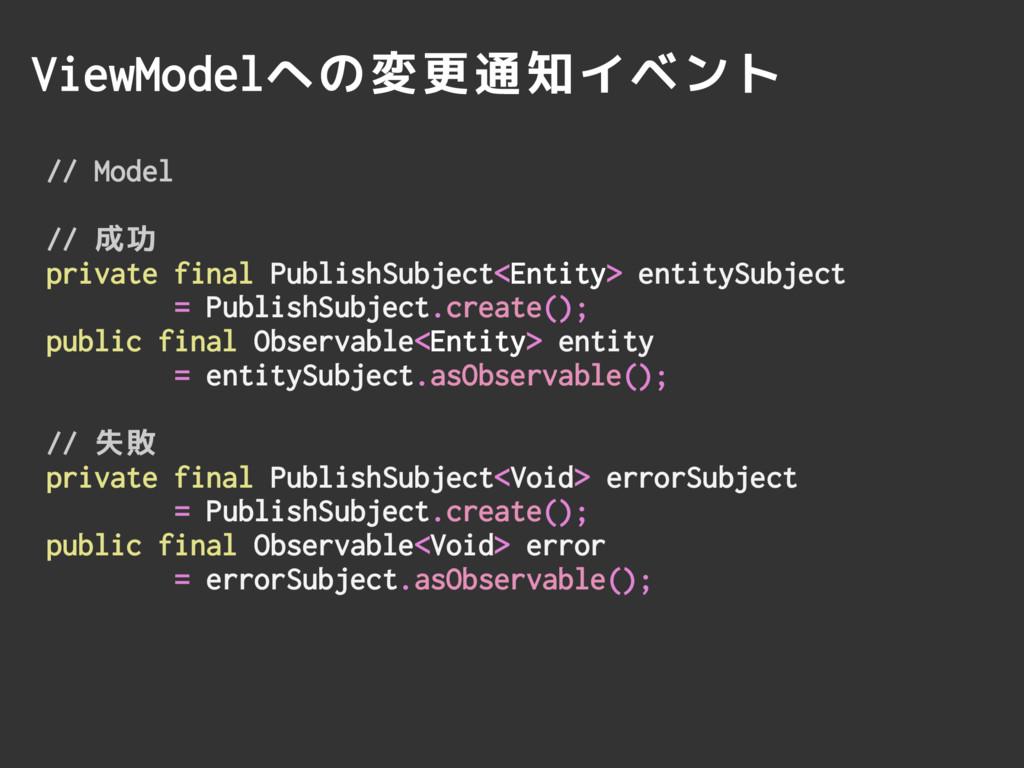 ViewModelへの変更通知イベント // Model // 成功 private fina...