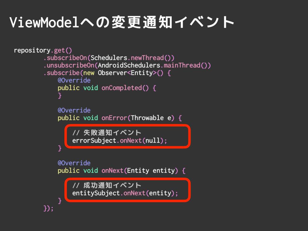 ViewModelへの変更通知イベント repository.get() .subscribe...