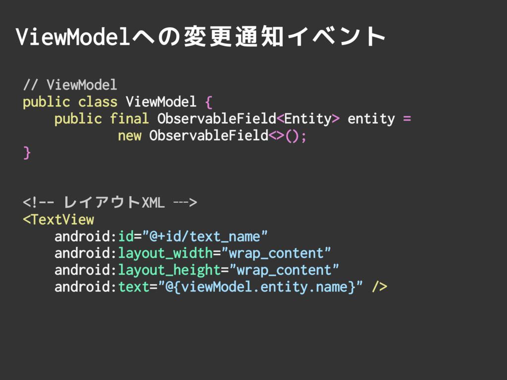 ViewModelへの変更通知イベント // ViewModel public class V...