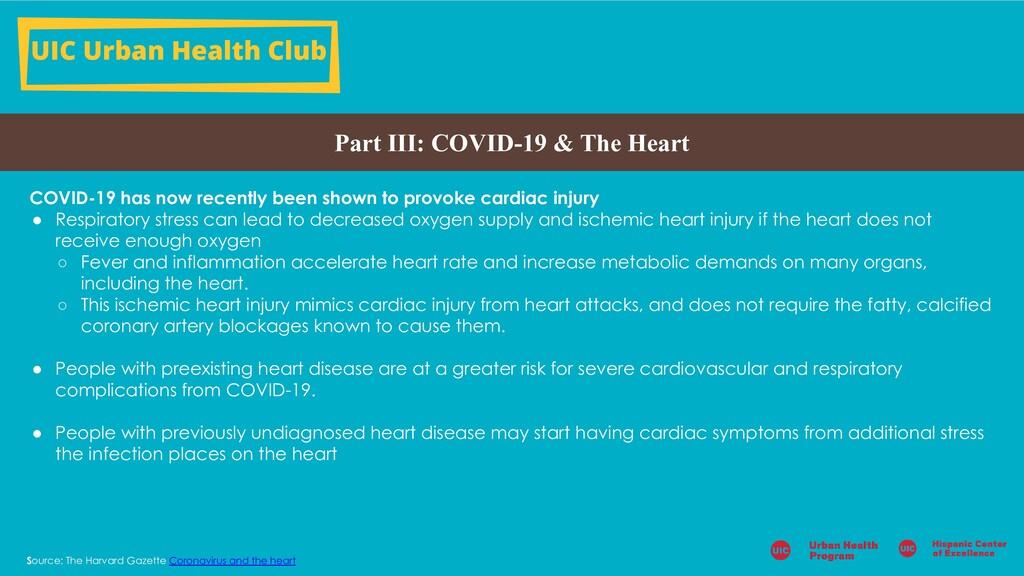 UIC Urban Health Club Part III: COVID-19 & The ...