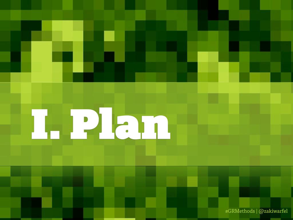 #GRMethods | @zakiwarfel I. Plan