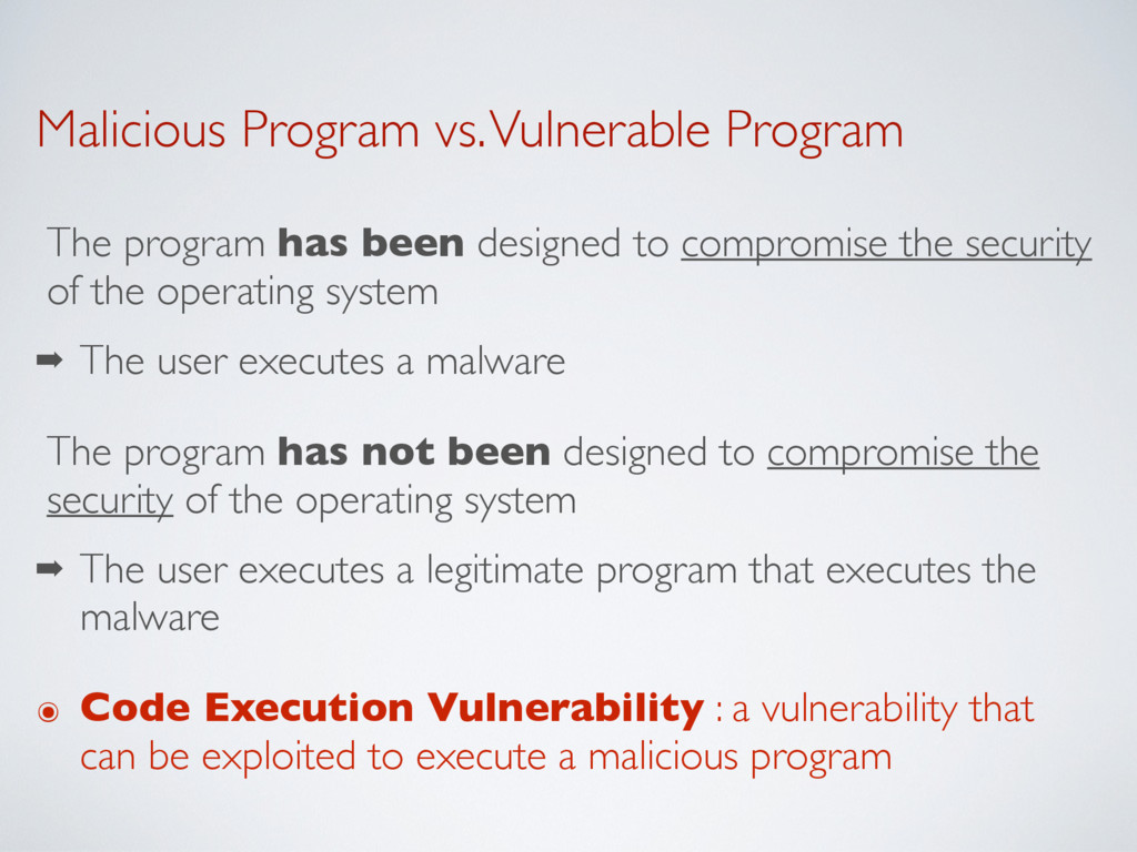Malicious Program vs. Vulnerable Program The pr...