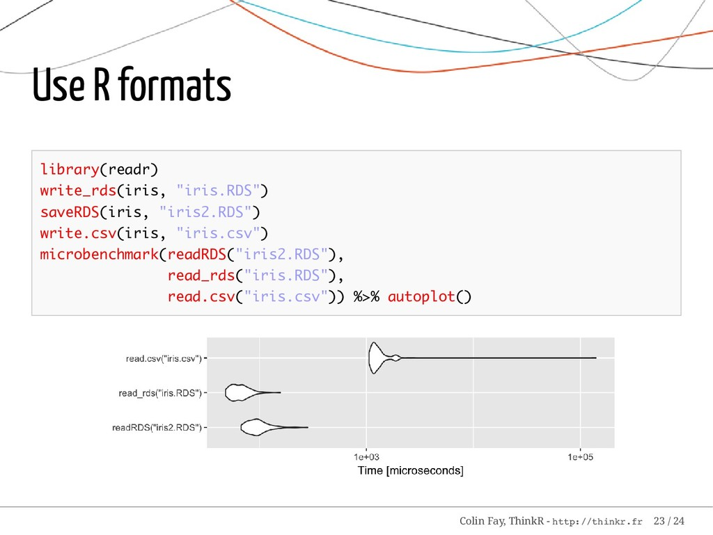 "Use R formats library(readr) write_rds(iris, ""i..."