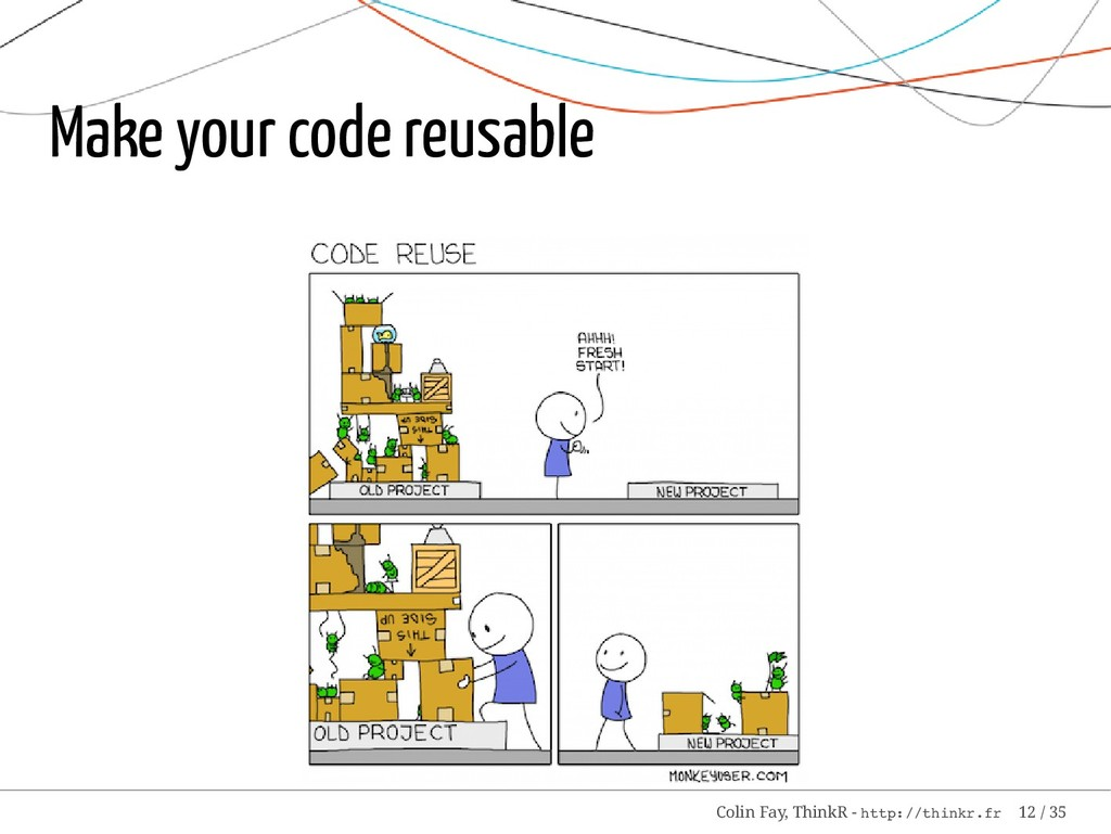 Make your code reusable Colin Fay, ThinkR - htt...