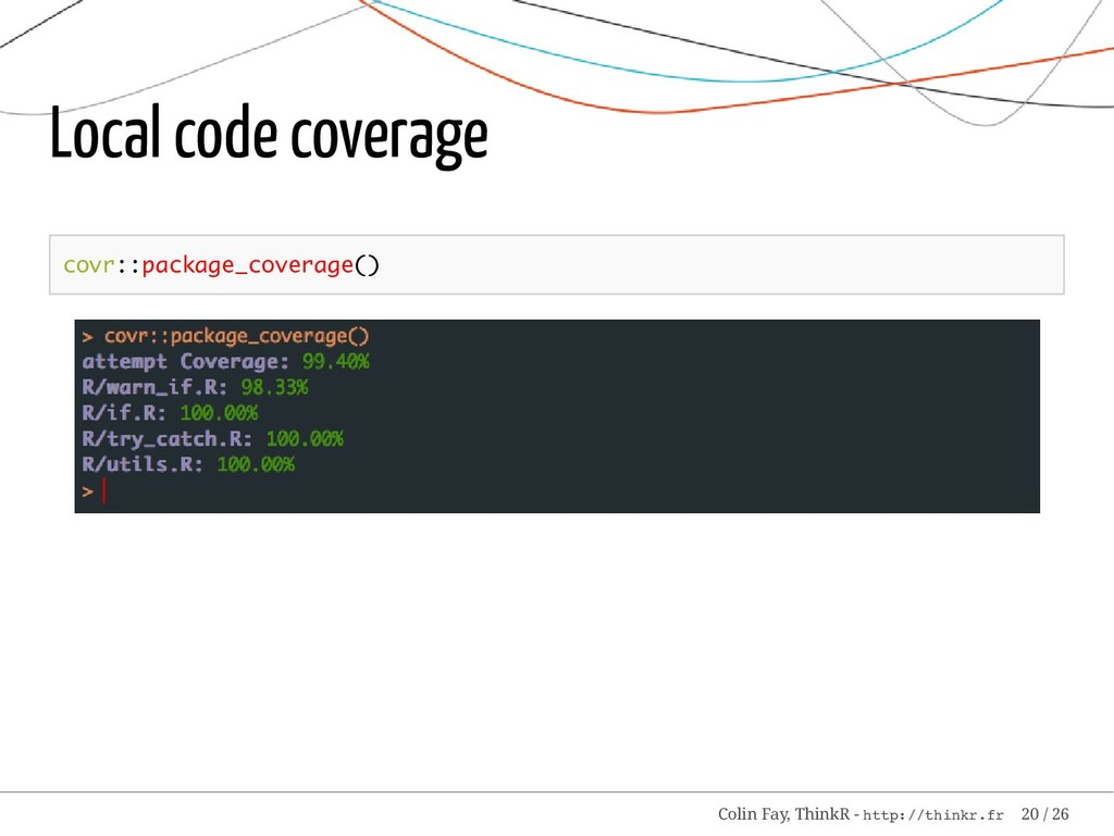 Local code coverage covr::package_coverage() Co...