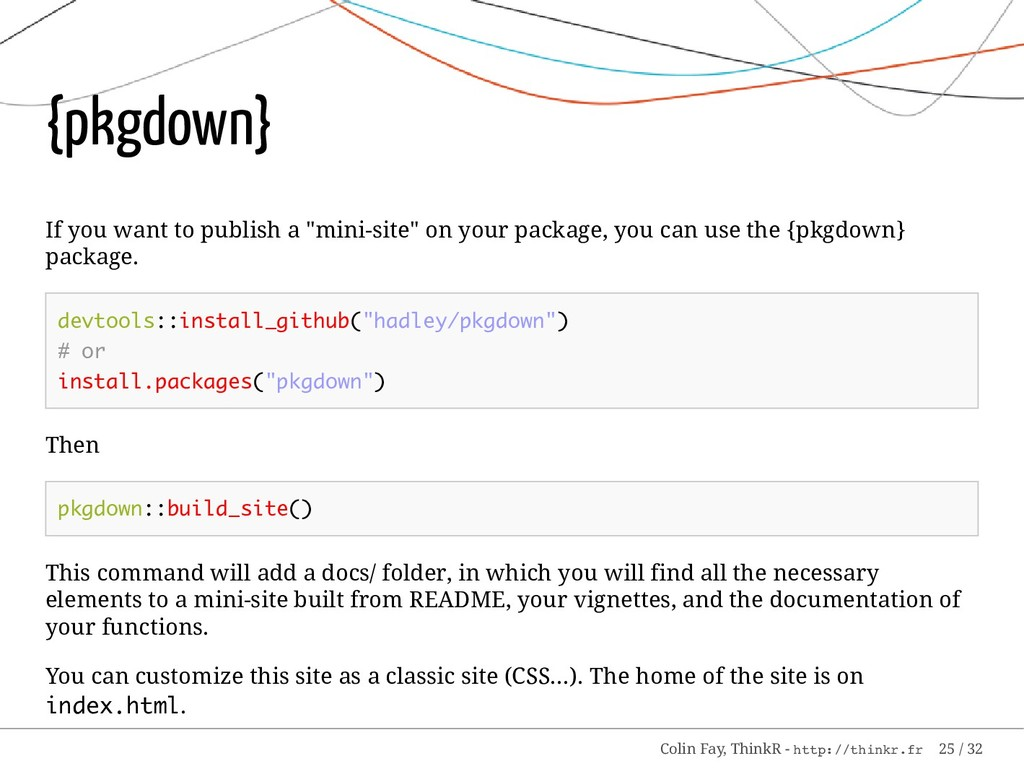 "{pkgdown} If you want to publish a ""mini-site"" ..."