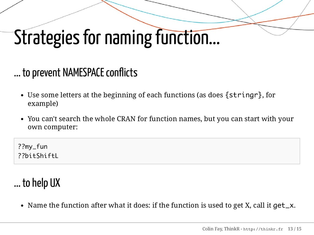 Strategies for naming function... ... to preven...