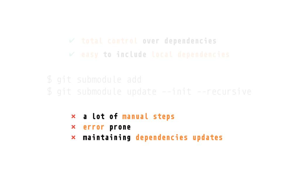 × a lot of manual steps × error prone × maintai...