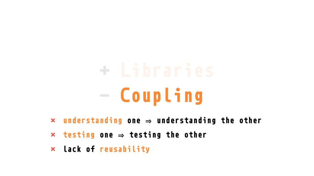 + Libraries - Coupling × understanding one 㱺 un...