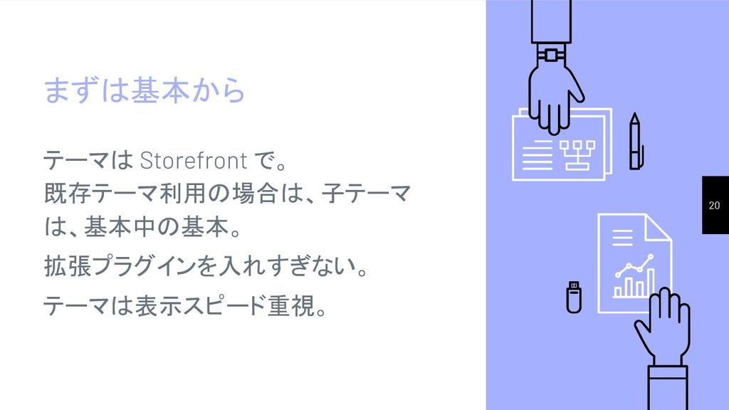 まずは基本から テーマは Storefront で。 既存テーマ利用の場合は、子テーマ は、基...