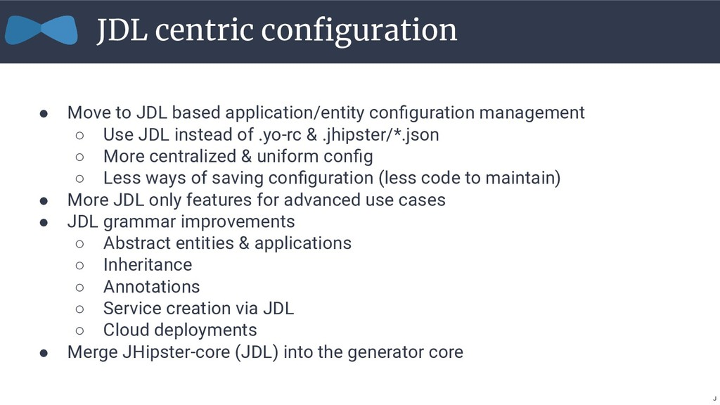 ● Move to JDL based application/entity configura...
