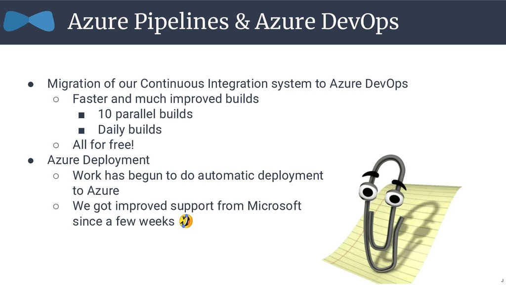 ● Migration of our Continuous Integration syste...