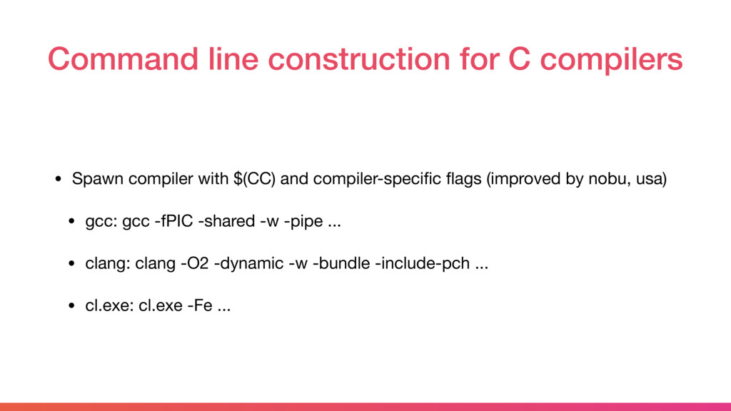 Command line construction for C compilers • Spa...