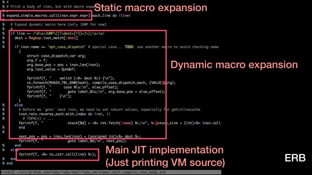 Static macro expansion Main JIT implementation ...