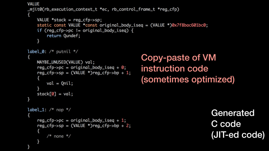 Generated C code (JIT-ed code) Copy-paste of VM...