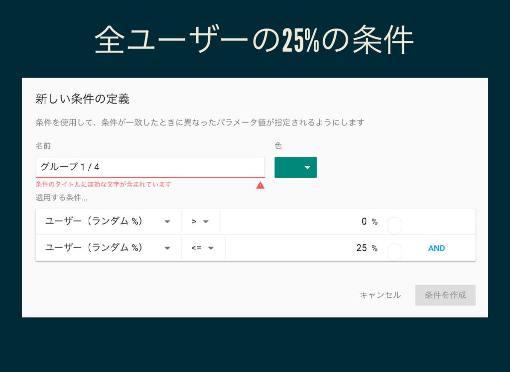 全ユーザーの25% の条件