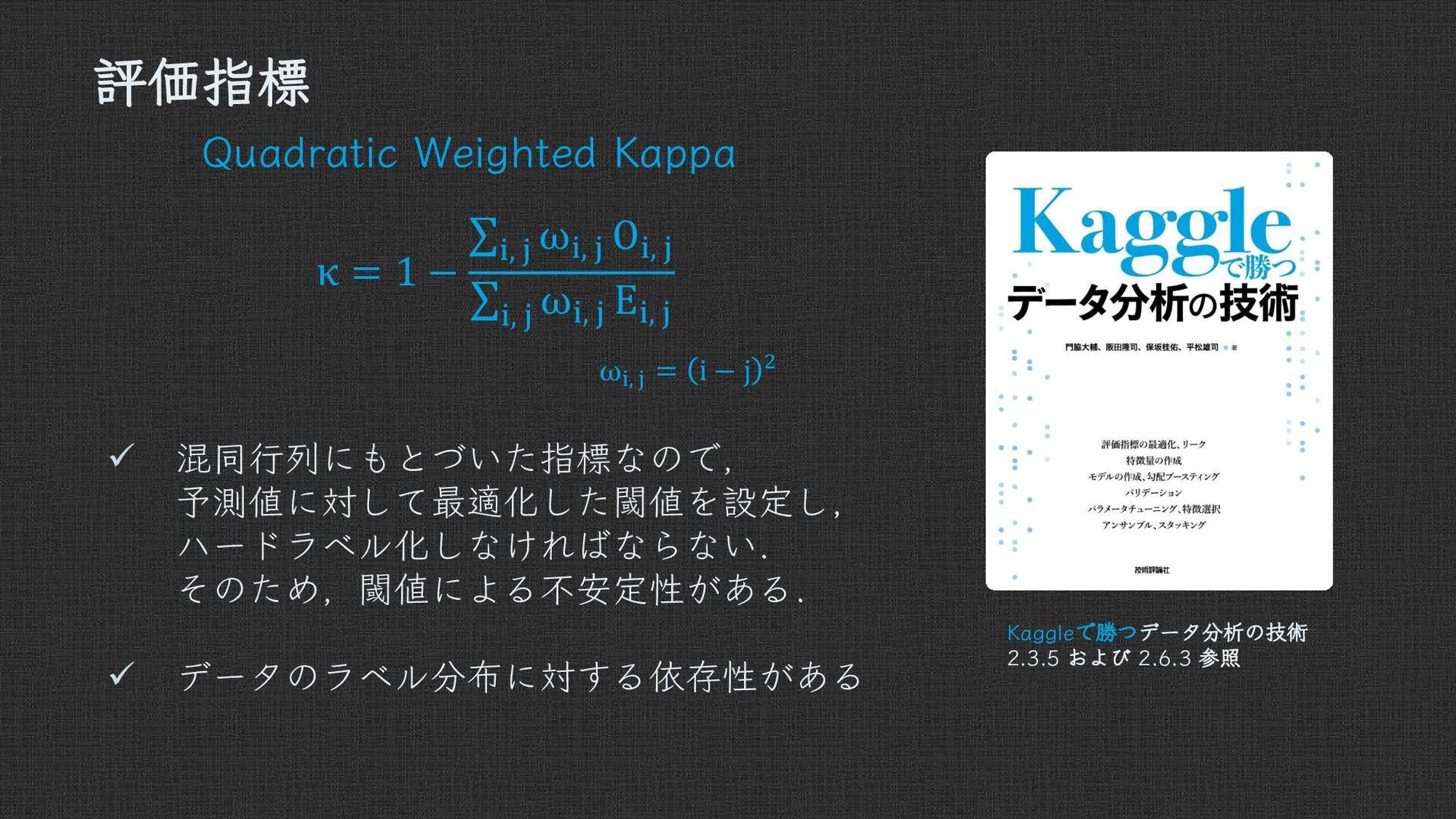 評価指標 Quadratic Weighted Kappa  =  − ,  ,  ,  , ...